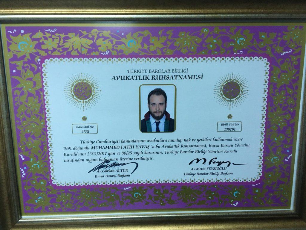 Bursa Boşanma Avukatı Avukatlık Ruhsatnamesi